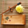 Stock Photo: Sushi set on bamboo mat