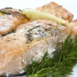 Delicious baked salmon — Stock Photo