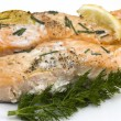 Stock Photo: Baked salmon with chive
