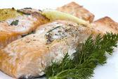 Delicious baked salmon — Stock Photo