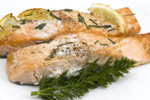 Baked salmon with chive — Stock Photo