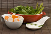 Surimi and salad — Stockfoto