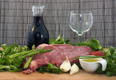 Rack of lambs and other ingredients — Stock Photo