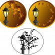 Royalty-Free Stock Vektorgrafik: Lamppost in a leaves