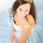 Beauty bride in blue dress — Stock Photo