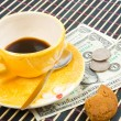 Stock Photo: Pay for coffee and cookies