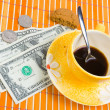 Three dollars and 50 cent pay for coffee — Stock Photo #2817599