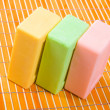 Soap on the bamboo table-cloth - Stock Photo