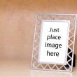 Metallic photo frame - Stock Photo