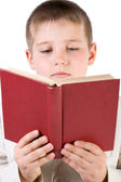 Well-dressed boy read book — Stock Photo