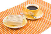 Waffle slice and cofee cup — Stock Photo