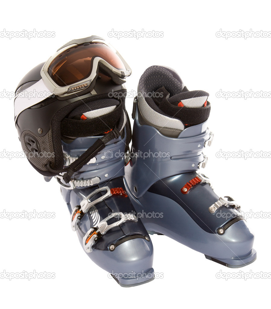 Ski boot's helmet and goggles. Isolate on white — Stock Photo #2817526