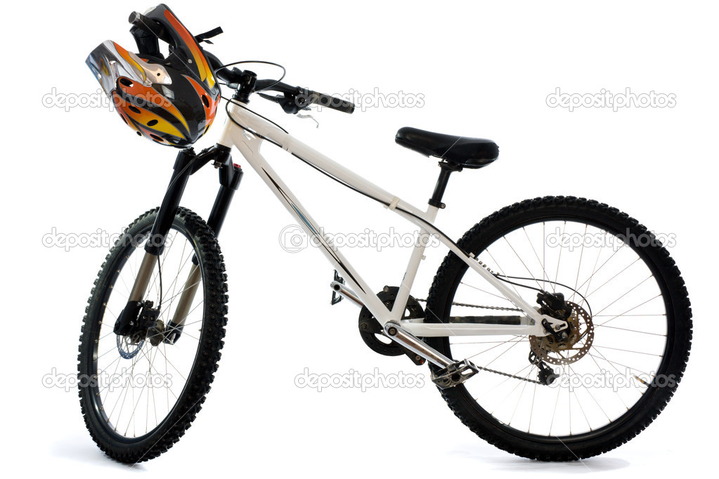Mountain bike and helmet for extreme riding isolated on white — Stock Photo #2817693