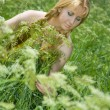 Beauty girl in summer forest — Stock Photo