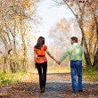 Young couple walking in the park — Stock Photo #3160758