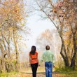 Young couple walking in the park — Stock Photo #3160762