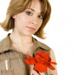 Girl with the flower — Stock Photo