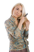 Young blondie girl combing — Stock Photo