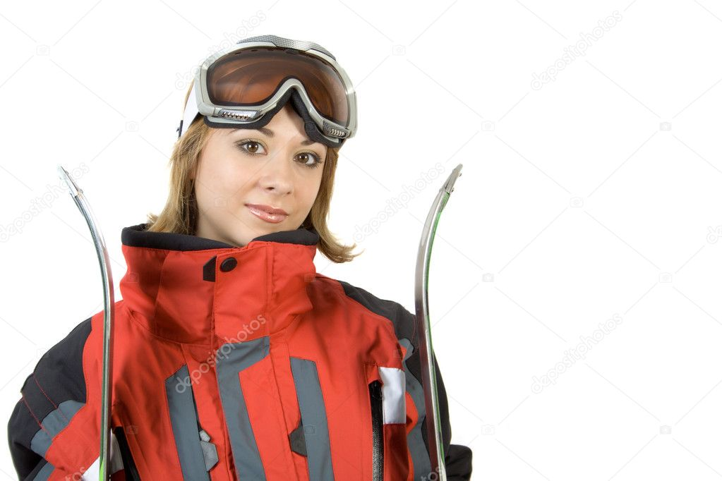 Smiling skier girl isolated over white  Stock Photo #3201247