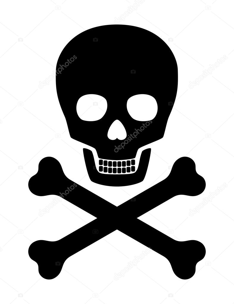Skull with crossed bones over white background — Stock Vector #2749817