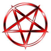 Red Glaring Pentagram — Stock Vector