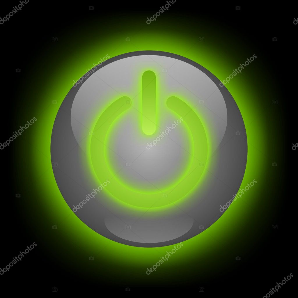 Power button with green glow over black background — Stock Photo #2780884