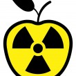Stock Vector: Apple polluted by radiation