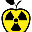 Apple polluted by radiation - Stock Vector