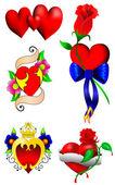 Conjunto de corações de amor — Vetor de Stock