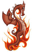 Dragon in fire — Stock Vector