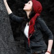 Girl in red scarf — Stock Photo