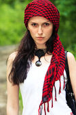Girl in a red kerchief — Stock Photo