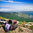 Stock Photo: Bike over precipice