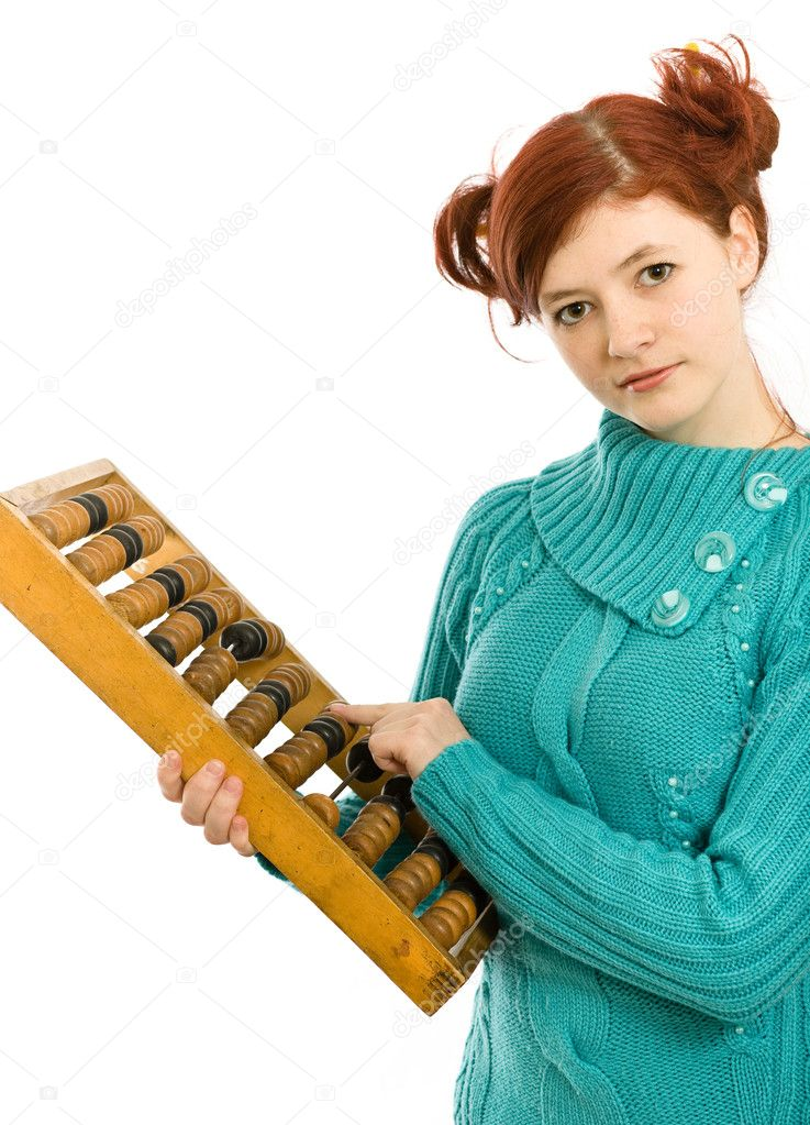 The young beautiful girl with an old abacus. Isolated.  Stock Photo #3570735