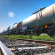 Oil and fuel transportation by rail - Stock Photo