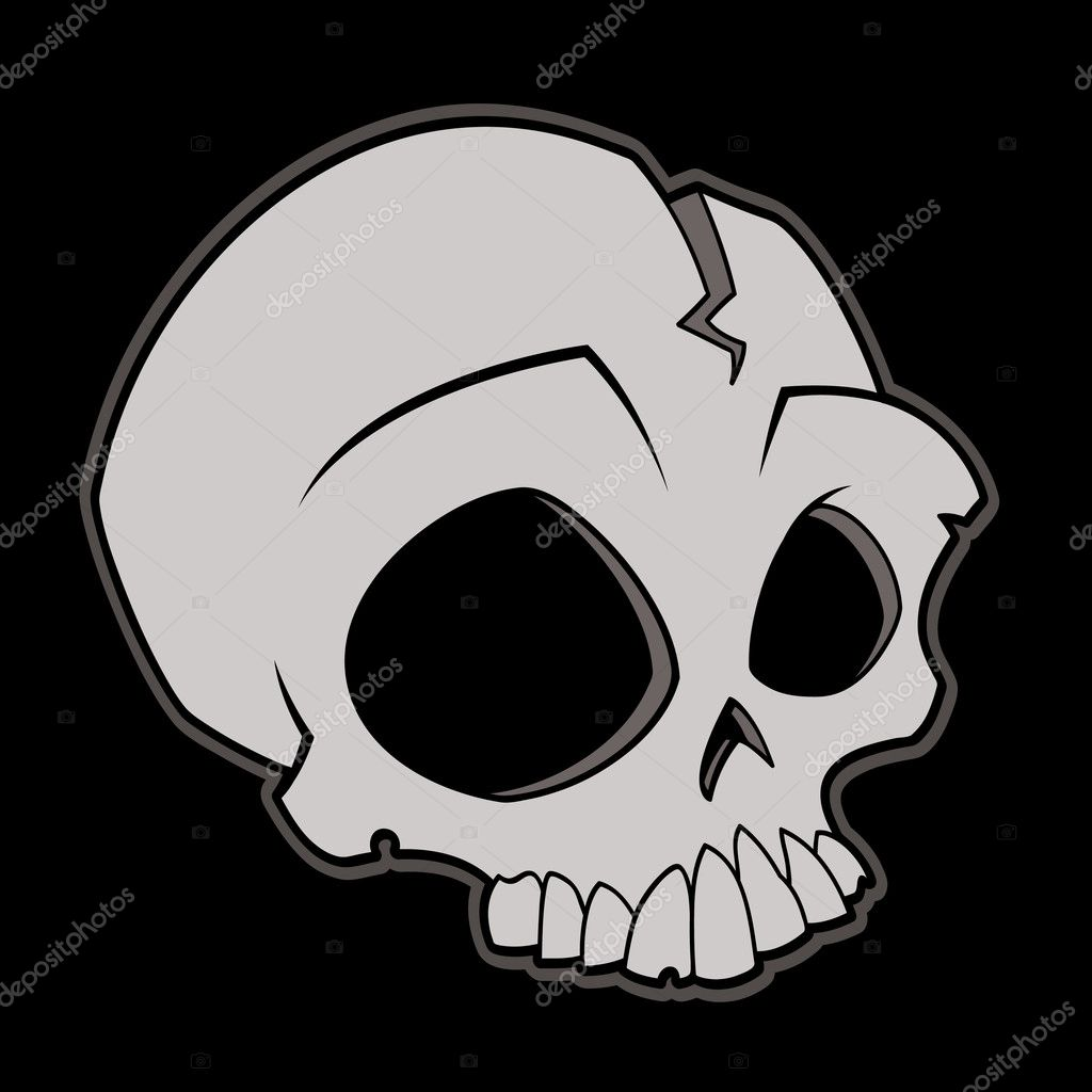 Cartoon vector illustration of a skull.  Stock Vector #3011240
