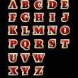 Golden style alphabet - Stok Vektr