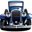 Blue vintage car — Stock Vector