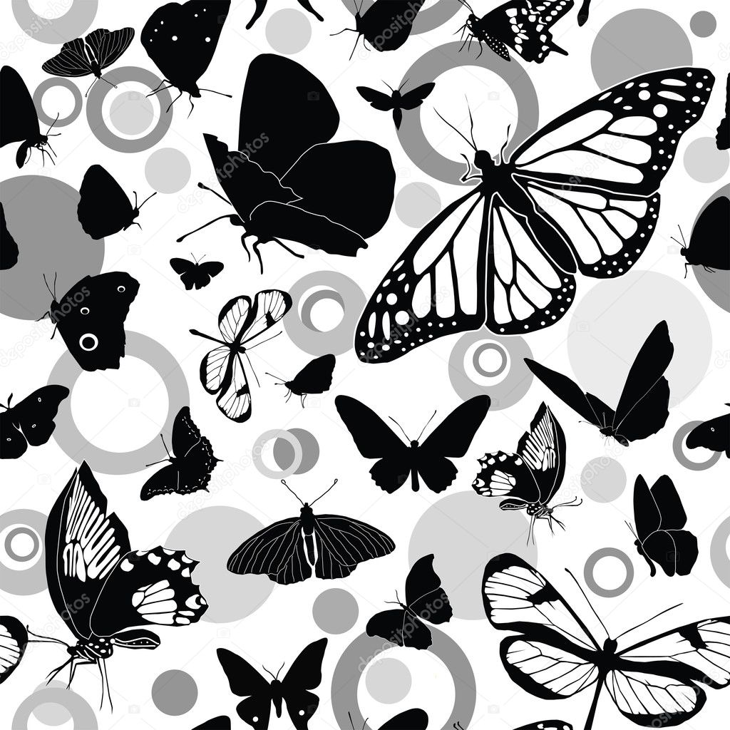 Seamless black-and-white vector pattern with butterflies  Stock Vector #3216049