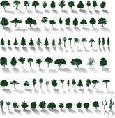 Vector trees with shadows — Stockvektor