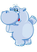 Happy hippo blue with raised paws — Stock Vector