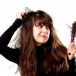 Woman having a bad hair day — Stock Photo #3081448