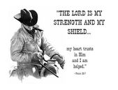 Pencil Drawing: Cowboy with Bible Verse — Stock Photo