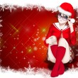 Santa Claus women Background , Christmas Card — Stock Photo