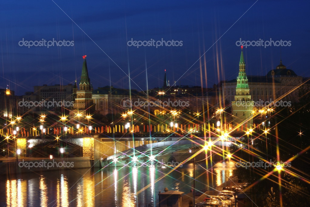 Beautiful kind on Moscow Kremlin at night, Russia — Stock Photo #3125449