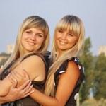 Two beautiful girls on nature — Stock Photo #3902262