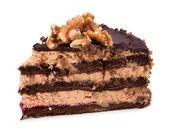 Rebanada de pastel de crema de chocolate — Foto de Stock