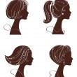 Beautiful women and girl silhouettes — Vector de stock