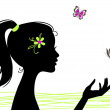 Beautiful girl silhouette with butterfly — Stock Vector