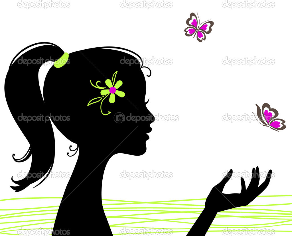 Beautiful girl silhouette with butterfly  Stock Vector #3201564